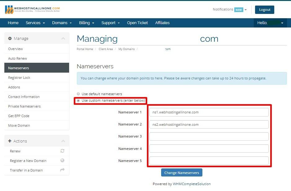 Cara merubah name server domain