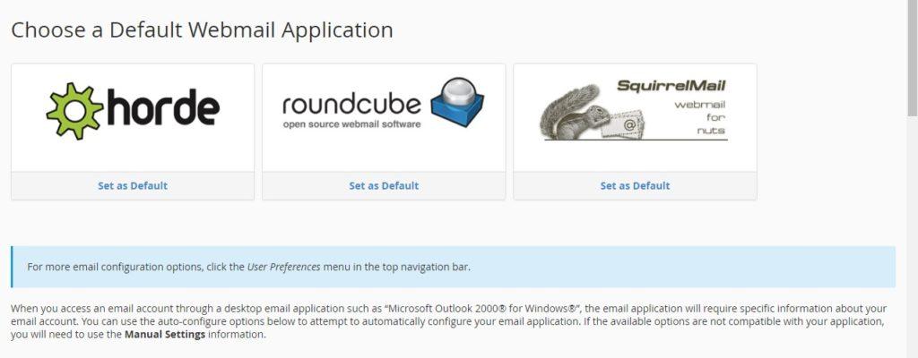 Pilihan aplikasi untuk membuka email di cpanel hosting