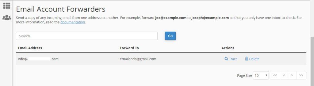 List email forward di cpanel hosting