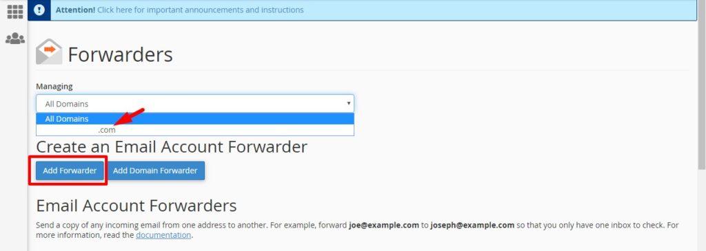 Pilih nama domain yang akan di forward