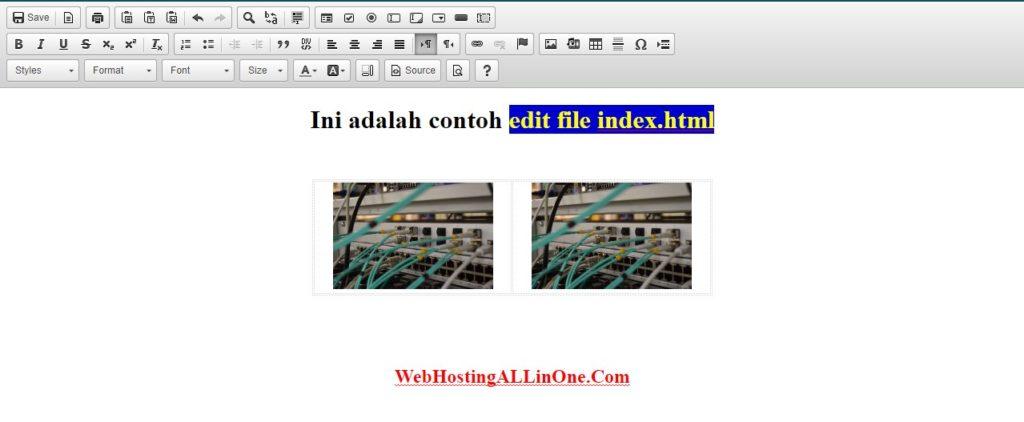 Tampilan editor file html di cpanel