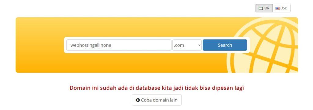Nama domain tidak tersedia beli hosting dan domain