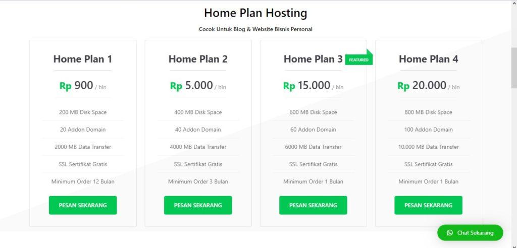 Paket shared hosting Home plan