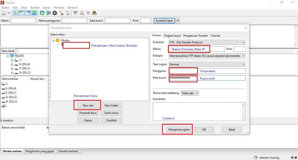 Login FTP Filezilla