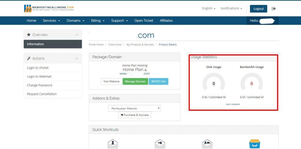 Detail kapasitas hosting dan bandwith hosting