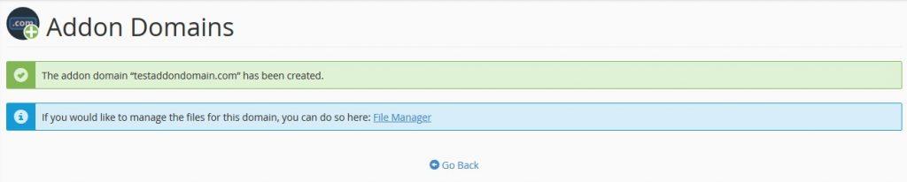 Menambahkan domain di akun hosting cpanel berhasil.
