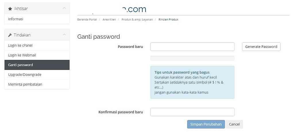 Cara mengganti password hosting dari area klien