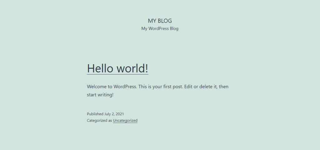 Halaman default WordPress